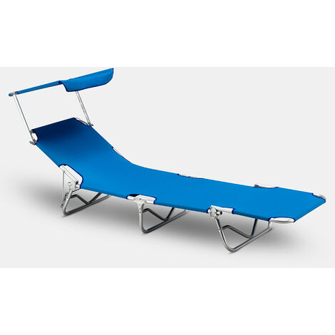 Lit de plage pliant bain de soleil transat piscine aluminium jardin pare-soleil VERONA LUX