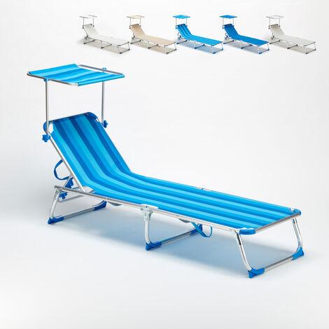 Lit de plage pliant bain de soleil transat piscine portable pare-soleil California