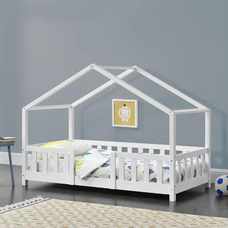 Lit d'Enfant Design en Forme Maison avec Grille de Protection Construction Solide Capacité de Charge 50 kg Bois de Pin Contreplaqué 140 x 70 cm Blanc Mat Laqué