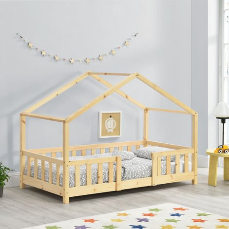 Lit d'Enfant Design en Forme Maison avec Grille de Protection Construction Solide Capacité de Charge 50 kg Bois de Pin Contreplaqué 140 x 70 cm Bois Naturel