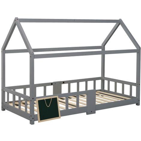 Lit d'enfant lit cabane 90 x 200 cm, lit en bois pour enfants, planche comprise   sommiers a lattes   protection antichute, en pin, pour enfants, gris (sans matelas)