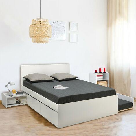 Lit double ALPHA 140x190 + 2 tiroirs + tiroir lit 90x190 avec sommier + chevet / Blanc/ 193x145x49 cm