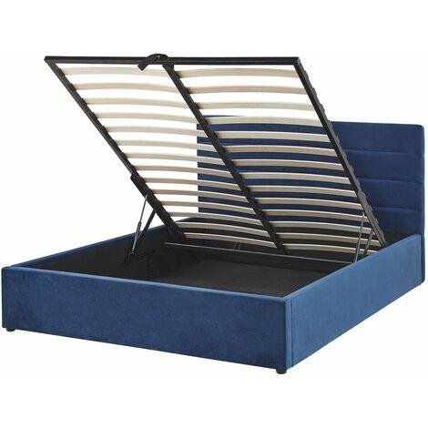 Lit double en velours bleu marine 140 x 200 cm LANDES