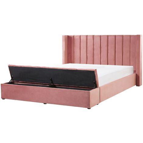 Lit double en velours rose avec banc coffre 160 x 200 cm NOYERS
