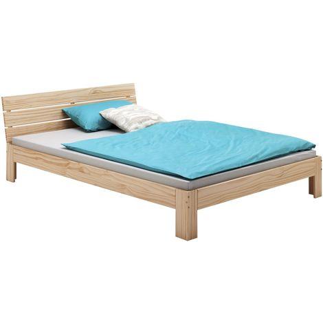 Lit double pour adulte THOMAS avec tête de lit, couchage 140 x 200 cm 2 places / 2 personnes, en pin massif vernis naturel