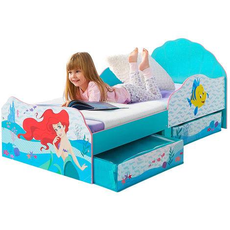 Lit enfant avec tiroirs de rangement Princesse Ariel Disney