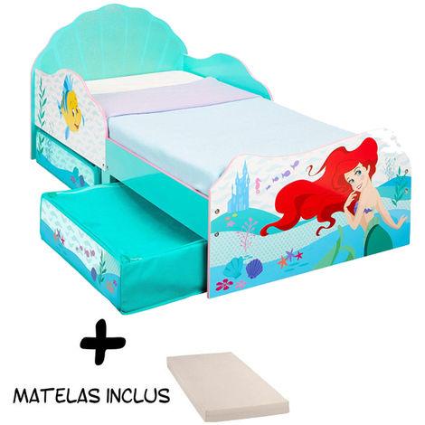 Lit enfant avec tiroirs de rangement Princesse Ariel Disney + matelas