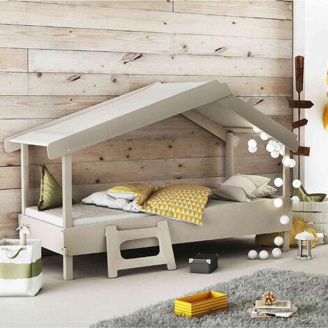 Lit enfant cabane en bois gris 90x200 - Gris