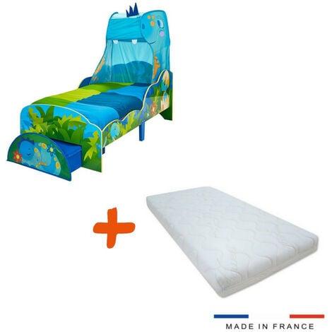 Lit Enfant Dinosaure avec Ciel de lit et tiroir de Rangement + Matelas