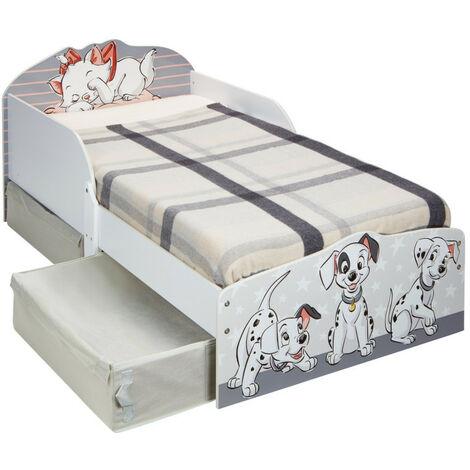 Lit enfant Disney 101 Dalmatiens et Marie des Aristochats avec deux tiroirs de rangement