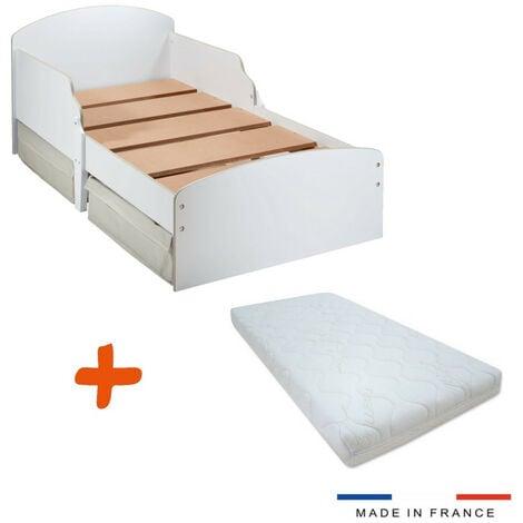 Lit enfant en bois avec tiroirs de rangement + Matelas couleur blanche 70 x 140 cm