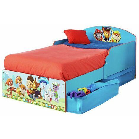 Lit enfant en bois coloris bleu motif Pat' Patrouille - Dim : L143 x P77 x H59 cm -PEGANE-