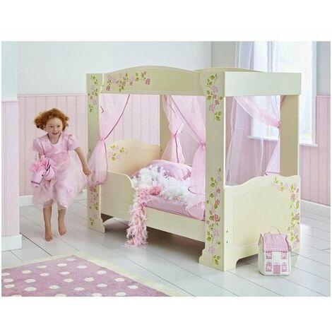 Lit Enfant Fille a Baldaquin en bois Rose et Blanc avec rideaux Rose 70 * 140 cm - Worlds Apart