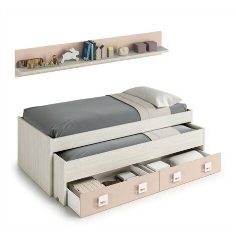 Lit enfant gigogne avec 2 tiroirs et 1 étagère