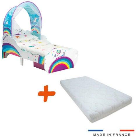 Lit enfant Licornes arcs-en-Ciel Ciel de lit tiroir de Rangement + Matelas