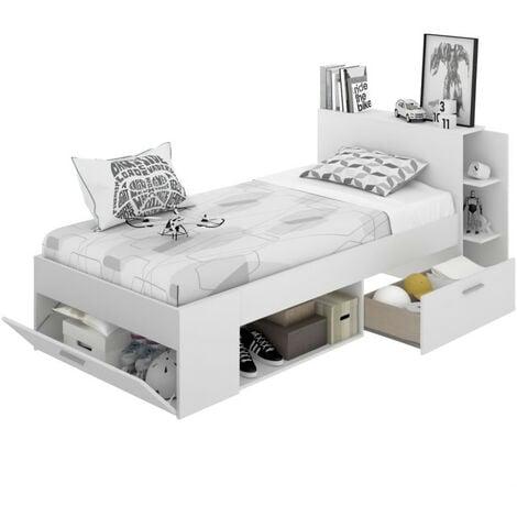 """main image of """"Lit enfant multiples rangements - Décor Blanc - 90 x 190 cm - SAX"""""""