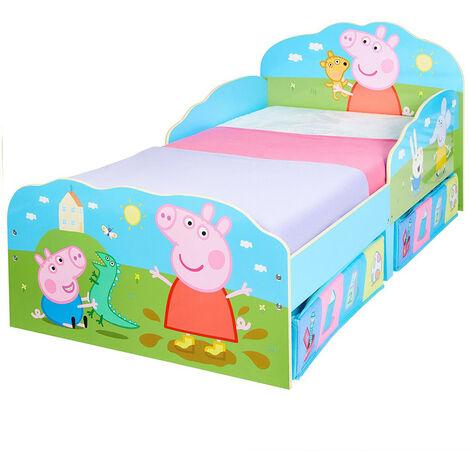 Lit enfant Peppa Pig Famille avec tiroirs de rangement