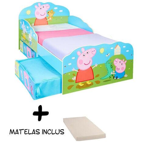 Lit enfant Peppa Pig Famille avec tiroirs de rangement + Matelas