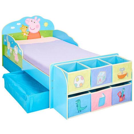 Lit enfant Peppa Pig Famille avec tiroirs et 6 cubes de rangement