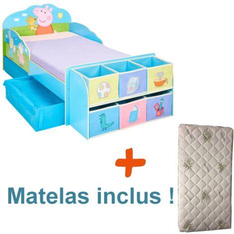 Lit enfant Peppa Pig Famille avec tiroirs et 6 cubes de rangement + Matelas