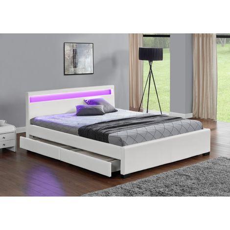 Lit Enfield - Structure de lit en simili Blanc avec rangements et LED intégrées - 160x200 cm