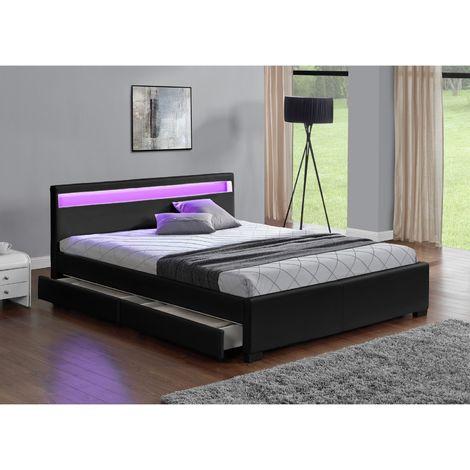 Lit Enfield - Structure de lit en simili Noir avec rangements et LED intégrées - 140x190 cm