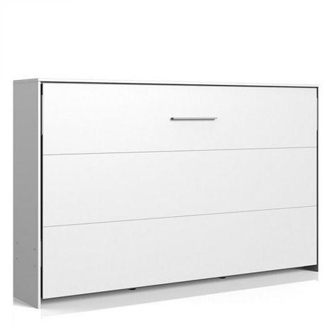 Lit escamotable horizontal VANIER blanc mat couchage 120 x 200 cm - blanc
