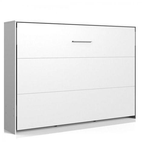 Lit escamotable horizontal VANIER blanc mat couchage 140 x 200 cm - blanc