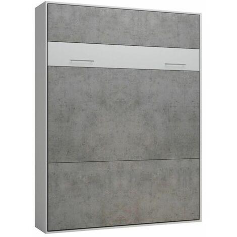Lit escamotable LOFT blanc façade gris béton couchage 160 x 200 cm - bi color