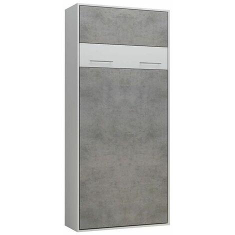 Lit escamotable LOFT blanc façade gris béton couchage 90 x 200 cm - bi color