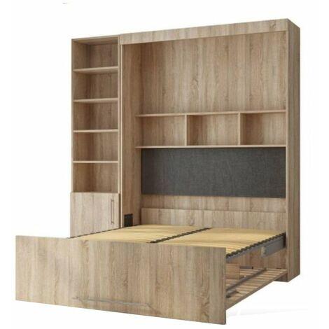 Lit escamotable LUTECIA 140*190 cm chêne avec rangement bibliothèque - natural