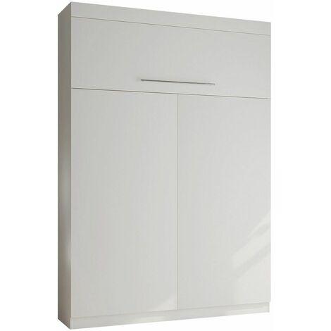 Lit escamotable LUTECIA Couchage 140 x 190 cm profondeur 50 cm blanc mat - blanc