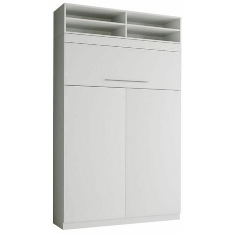 Lit escamotable LUTECIA surmeuble 140 x 190 cm profondeur 50 cm blanc mat - blanc