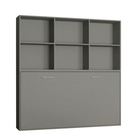 Lit escamotable STRADA-V2 gris mat Couchage 90 x 200 cm avec surmeuble 6 niches de rangements - gris
