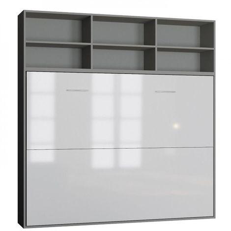 Lit escamotable STRADA-V2 structure gris mat façade blanc brillant avec surmeuble 140*200 cm