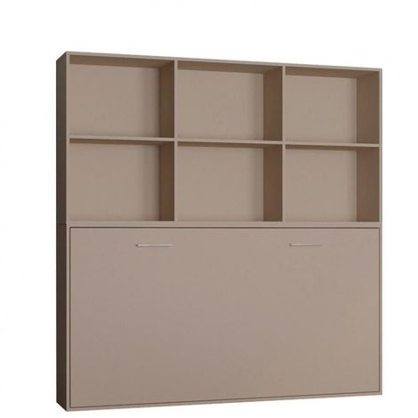Lit escamotable STRADA-V2 taupe mat Couchage 90 x 200 cm avec surmeuble 6 niches de rangements - taupe