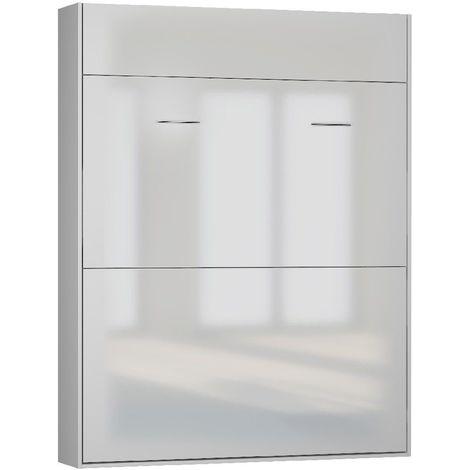 Lit escamotable STUDIO façade blanc brillant Couchage 160*200 cm Ouverture assistée et pied automatique - blanc