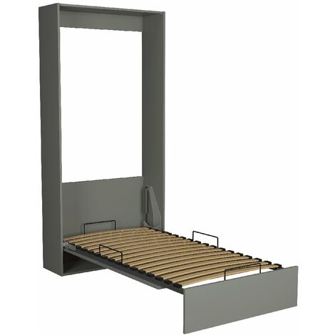 Lit escamotable STUDIO gris graphite mat Couchage 90*200 cm Ouverture assistée et pied automatique - gris