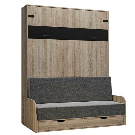 Lit escamotable style industriel KEY SOFA chêne accoudoirs chêne canapé gris 160*200 cm - natural