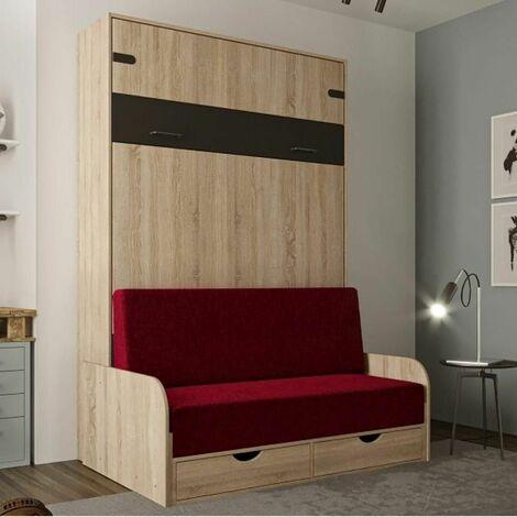 Lit escamotable style industriel KEY SOFA chêne accoudoirs chêne canapé rouge 140*200 cm - natural
