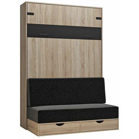 Lit escamotable style industriel KEY SOFA chêne bandeau noir canapé anthracite 140*200 cm - natural
