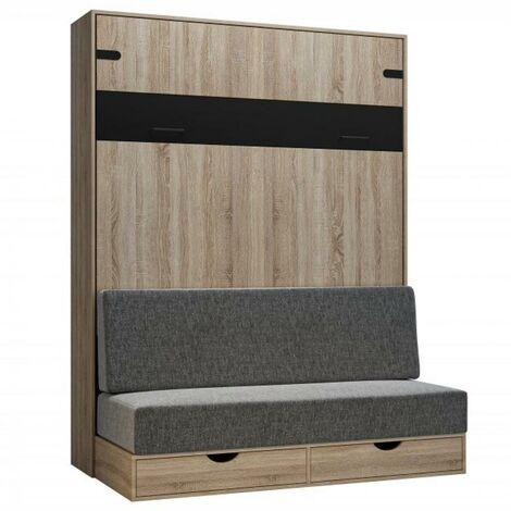 Lit escamotable style industriel KEY SOFA chêne bandeau noir canapé gris 160*200 cm - natural