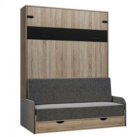 Lit escamotable style industriel KEY SOFA chêne canapé accoudoirs tissu gris 160*200 cm - natural