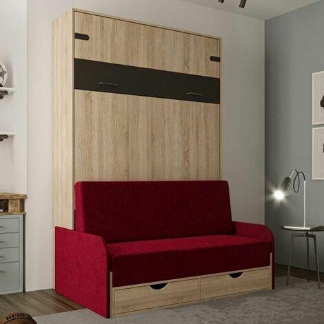 Lit escamotable style industriel KEY SOFA chêne canapé accoudoirs tissu rouge 140*200 cm - natural