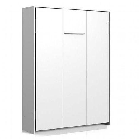 Lit escamotable VANIER blanc mat couchage 140 x 200 cm - blanc