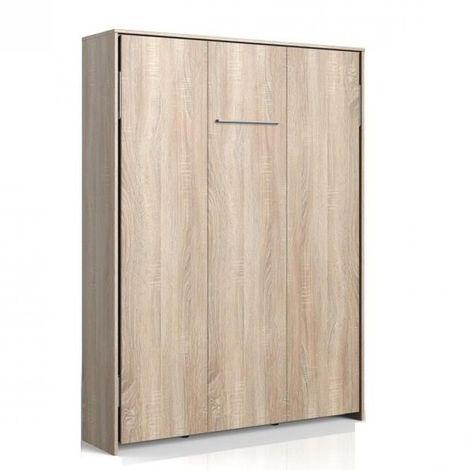 Lit escamotable VANIER décor chêne couchage 140 x 200 cm - natural