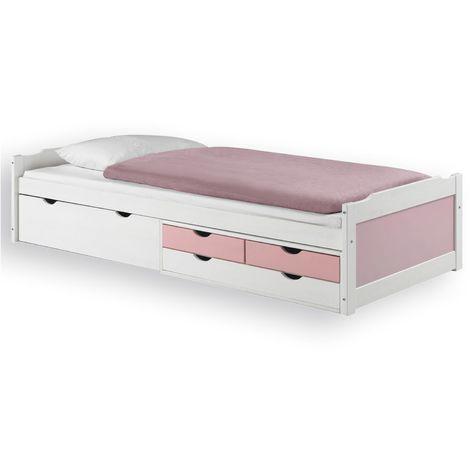 Lit fonctionnel ANDREA en pin massif lasuré blanc et rose 90 x 200 cm, lit pour enfant avec rangement