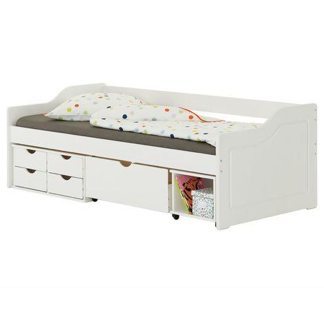 Lit fonctionnel SENTA avec rangements 4 tiroirs 1 caisson et 1 niche sur roulettes, couchage 90 x 200 cm, en pin massif lasuré blanc