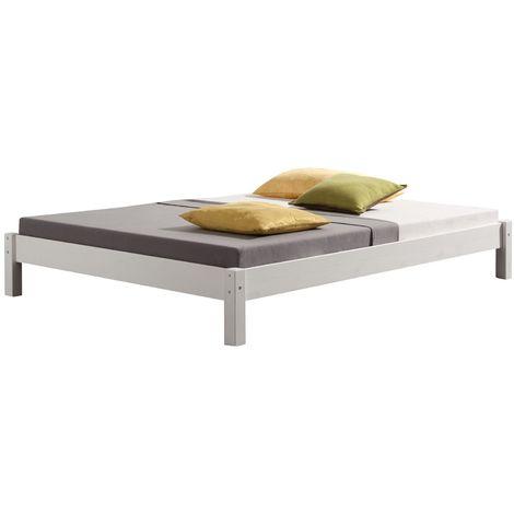 Lit futon double pour adulte TAIFUN 140 x 200 cm, 2 personnes, 2 places, pin massif lasuré blanc