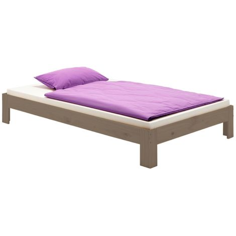 Lit futon THOMAS couchage double 140 x 190 cm 2 places / 2 personnes, en pin massif lasuré taupe